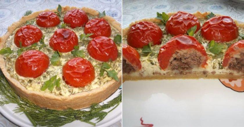 Запеканка с помидорами и фаршем