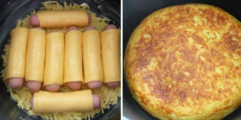 картофельная запеканка с сосисками