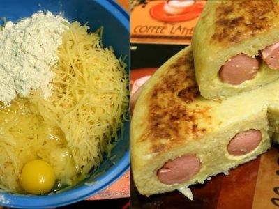 Запеканка с сосисками и сыром