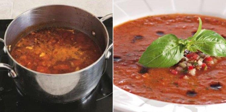 Томатный суп с говядиной и кускусом в кастрюле