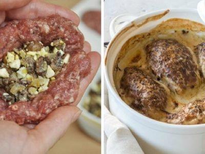 Зразы из мяса с грибами